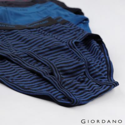 GIORDANO 男裝素色棉質三角內褲(六件裝)-37 藍/黑