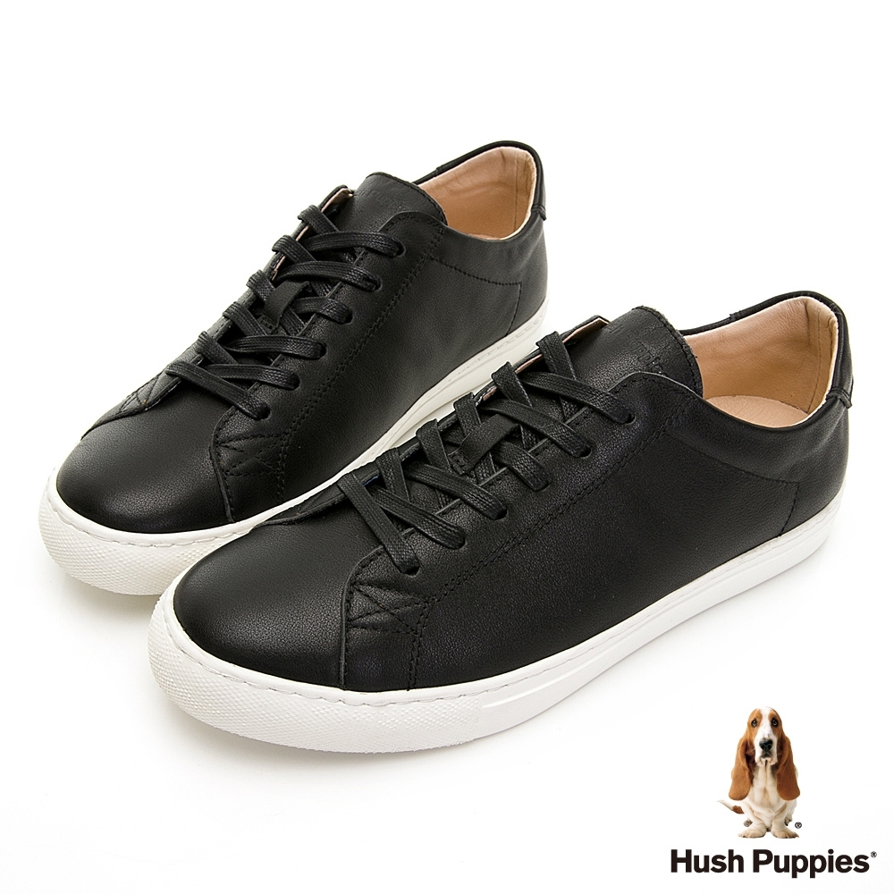 Hush Puppies 百搭皮革休閒男鞋-黑色