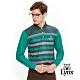 【Lynx Golf】男款吸濕排汗保暖橫條長袖POLO衫-綠色 product thumbnail 2