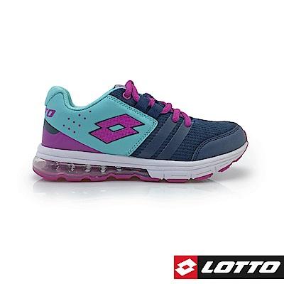 LOTTO 義大利 童 SWIFT RUN 氣墊跑鞋 (深藍/紫)