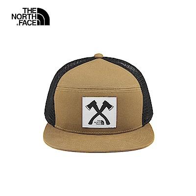 The North Face北面男女款卡其色拼接網布運動帽|3FKMT5C