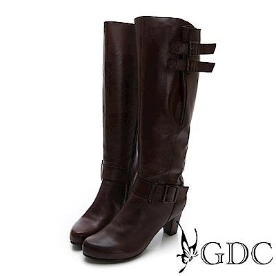 GDC-真皮扣環長腿辣妹性感中跟長靴-深咖色
