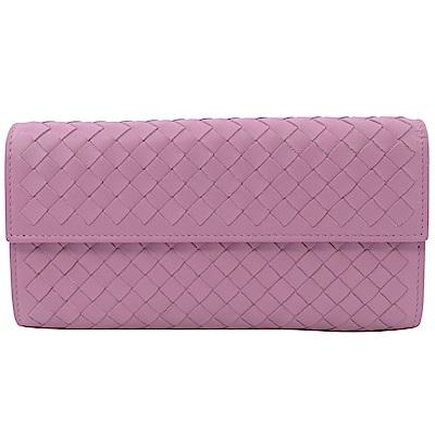 BOTTEGA VENETA經典編織羊皮紋扣式長夾(淺粉紫)