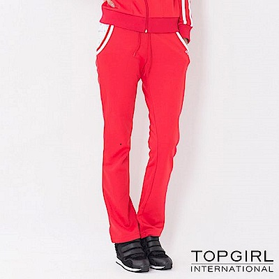 【TOP GIRL】跳色星星連帽POLY針織長褲-火熱紅