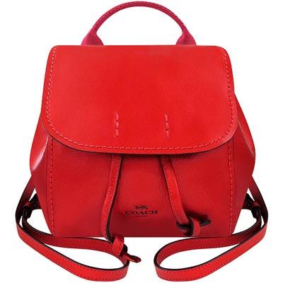 COACH 紅色光澤皮革後背包