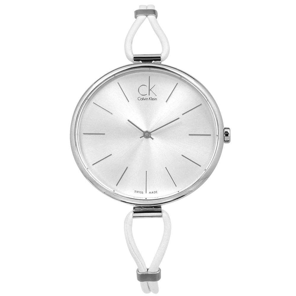 CK Damenuhr 瑞士機芯 造型皮繩不鏽鋼手錶-銀x白/38mm