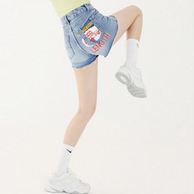 短褲 磨破印花毛邊牛仔短褲JZ14181-創翊韓都