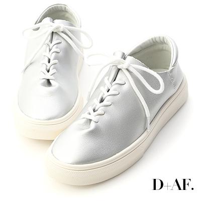 D+AF 愜意好穿.超軟皮革綁帶休閒鞋*銀