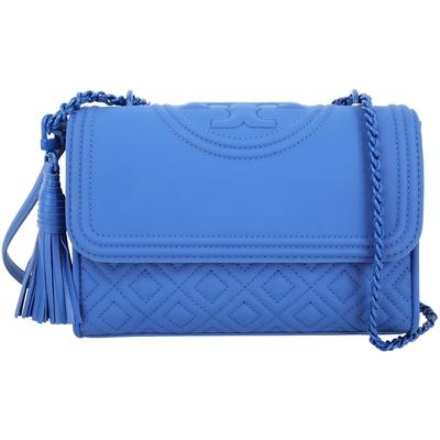 TORY BURCH Fleming Matte 展示品 小款 藍色菱格絎縫流蘇飾鍊帶兩用包(包身上方破皮)