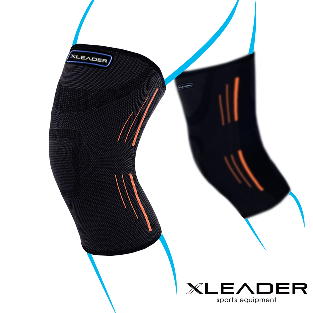 LEADER XW-05 透氣加壓 運動壓縮護膝腿套 黑橘 2只入