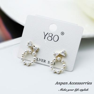 【ANPAN愛扮】韓東大門甜美鏤空鑽石蝴蝶結925銀針耳釘式耳環