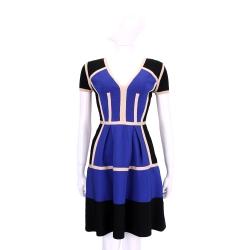 ELISABETTA FRANCHI 黑藍色塊拼接短袖針織洋裝