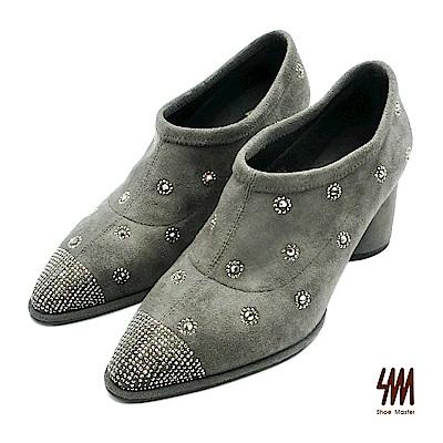 SM-超質感吸睛典雅大方中高跟短踝靴-灰色 (兩色)