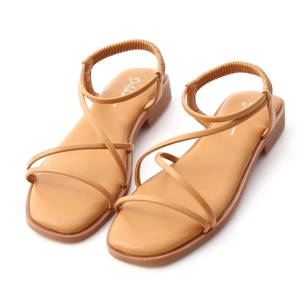 D+AF 夏日漫遊.棉花糖軟墊平底涼鞋*棕