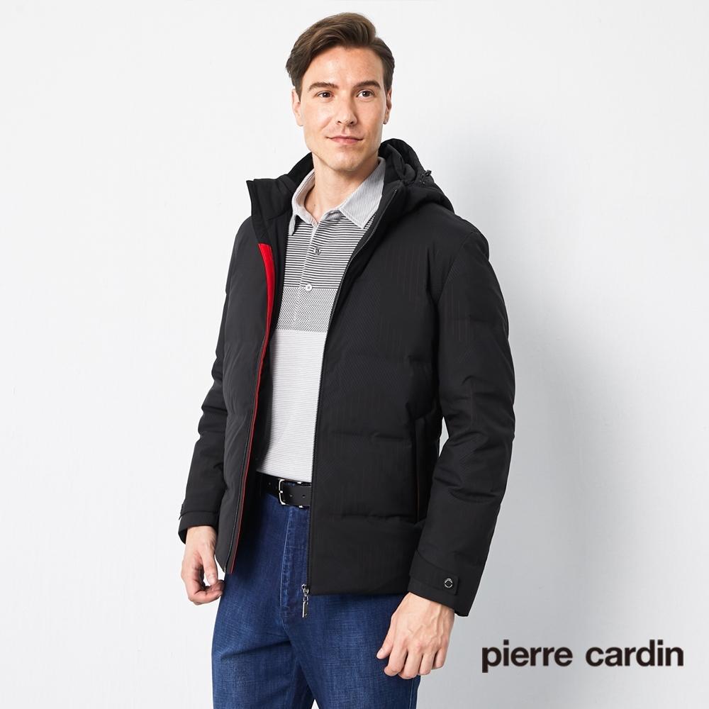 Pierre Cardin皮爾卡登 男裝 休閒印花連帽可拆式羽絨外套-黑色(5205771-99)