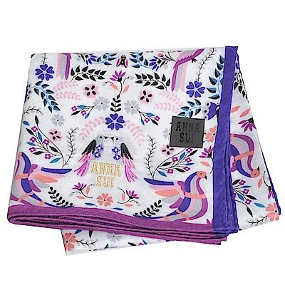 ANNA SUI 繽紛小鳥圖騰優雅小鳥字母LOGO刺繡帕領巾(紫色邊)