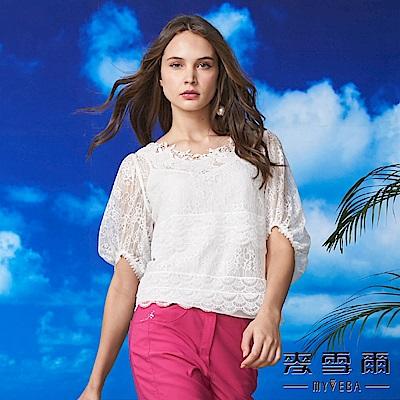 【麥雪爾】亮片蕾絲緹花澎袖兩件式上衣-白