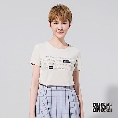 SNS 純真自我刺繡字母高含棉T恤(2色)