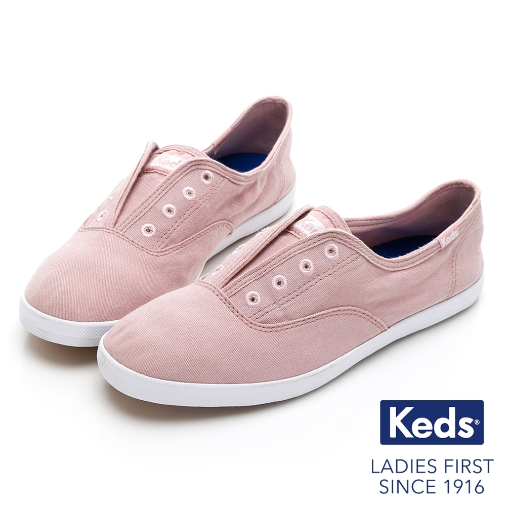 Keds CHILLAX 經典水洗斜紋休閒鞋-粉