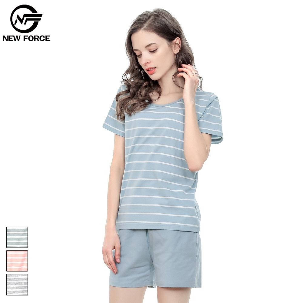 NEW FORCE棉質條紋睡衣套裝-藍白
