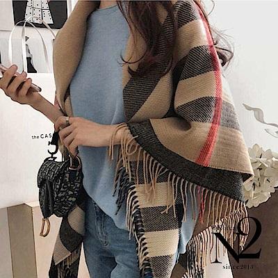 披肩圍巾 大格子經典方形流蘇大披肩圍巾(駝色) N2