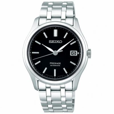 SEIKO 精工 Presage經典機械手錶SRPD99J1-黑X銀/38mm