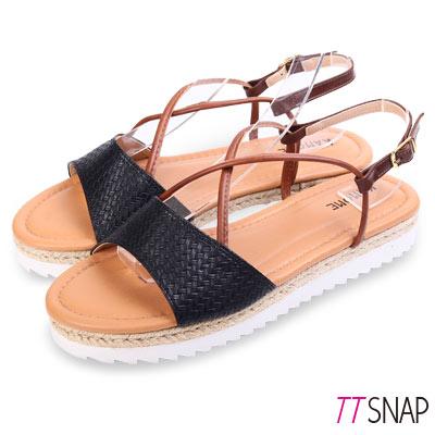 TTSNAP涼鞋-MIT編織厚底細帶交叉羅馬涼鞋 黑