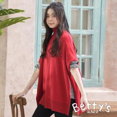 betty's貝蒂思 歐美風格中高領純色斗篷(紅色)