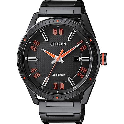 CITIZEN 星辰 光動能渦輪時尚腕錶-黑x橘時標/42mm(BM6998-88E)