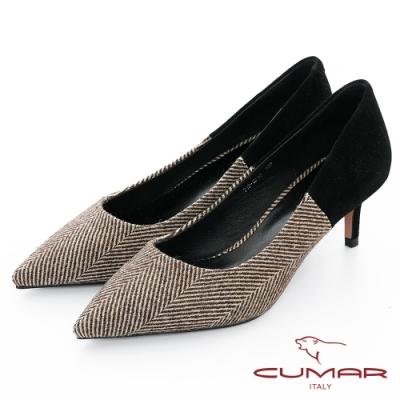 【CUMAR】優雅化身- 人字布紋異材質拼接尖頭高跟鞋-咖啡