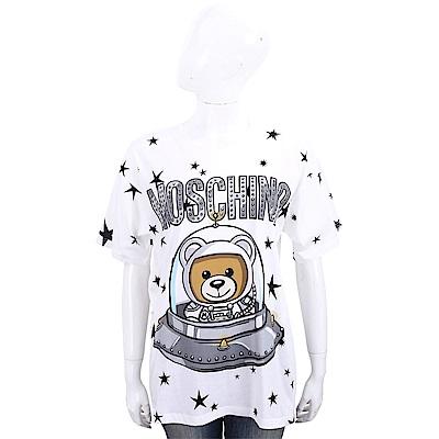 MOSCHINO 太空熊星星圖案白色棉質長版短袖T恤