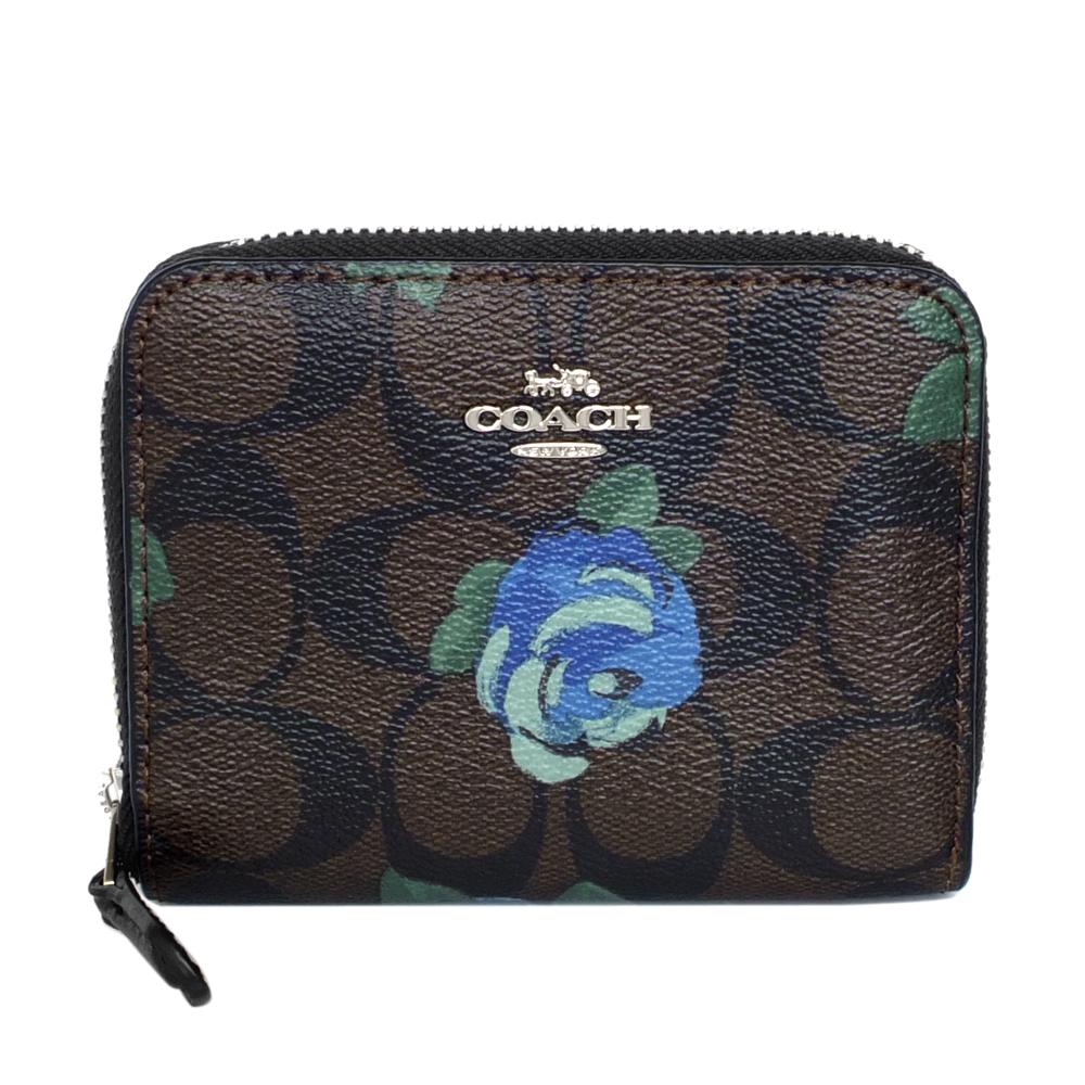 COACH深咖啡C Logo藍色花朵ㄇ型拉鍊短夾COACH