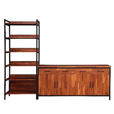 D&T德泰傢俱格萊斯積層木工業風收納展示架+6尺餐櫃-261.3x45.3x196cm
