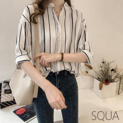 SQUA 雙色條紋V領雪紡襯衫-二色-(M/L)