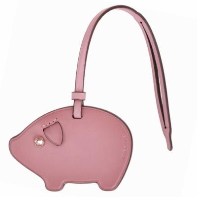 COACH PIG 小豬鑲鑽造型牛皮吊飾(粉色)