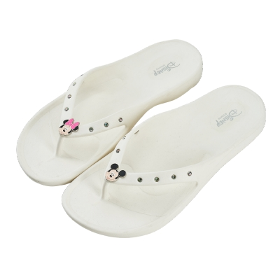 迪士尼親子鞋 米奇米妮 大人夾腳拖鞋-白