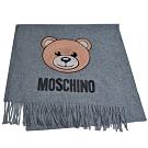 MOSCHINO 義大利製亮片小熊字母LOGO圖騰100%羊毛圍巾/披肩(灰)