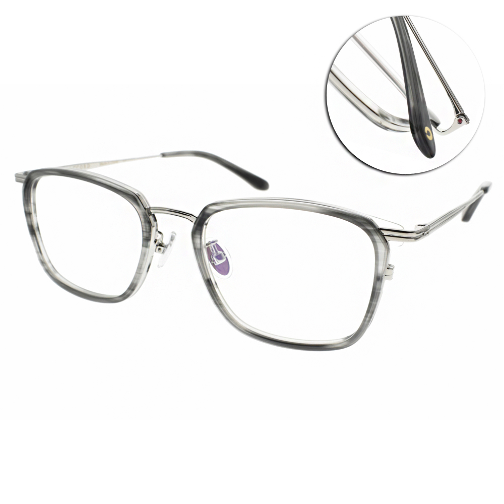 NINE ACCORD 眼鏡 韓系簡約方框/流線灰-銀 #UNION LINY C2
