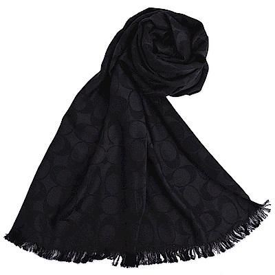 COACH 大C 滿版Logo羊毛混絲流蘇寬版披肩式薄圍巾-經典黑