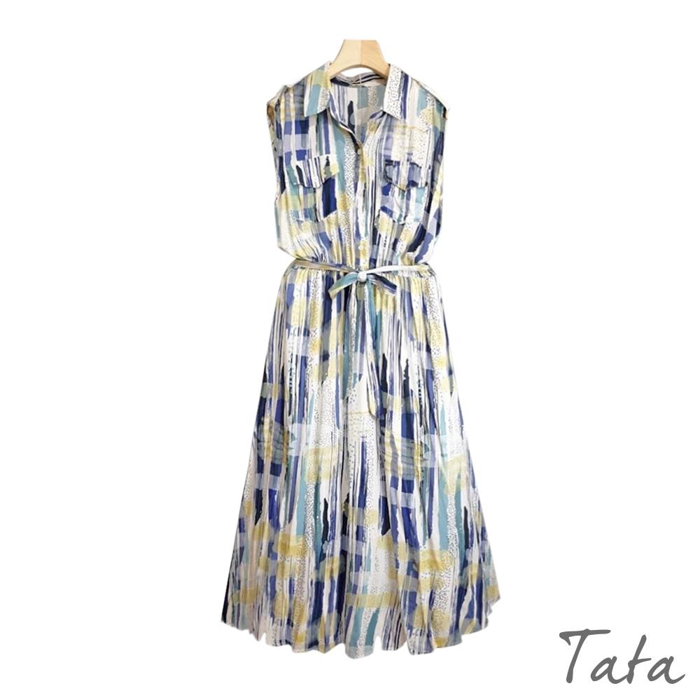 點點不規則直紋印花背心洋裝 TATA-F