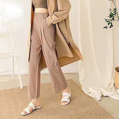 高含棉直條紋纖長腿直筒西裝褲-OB嚴選