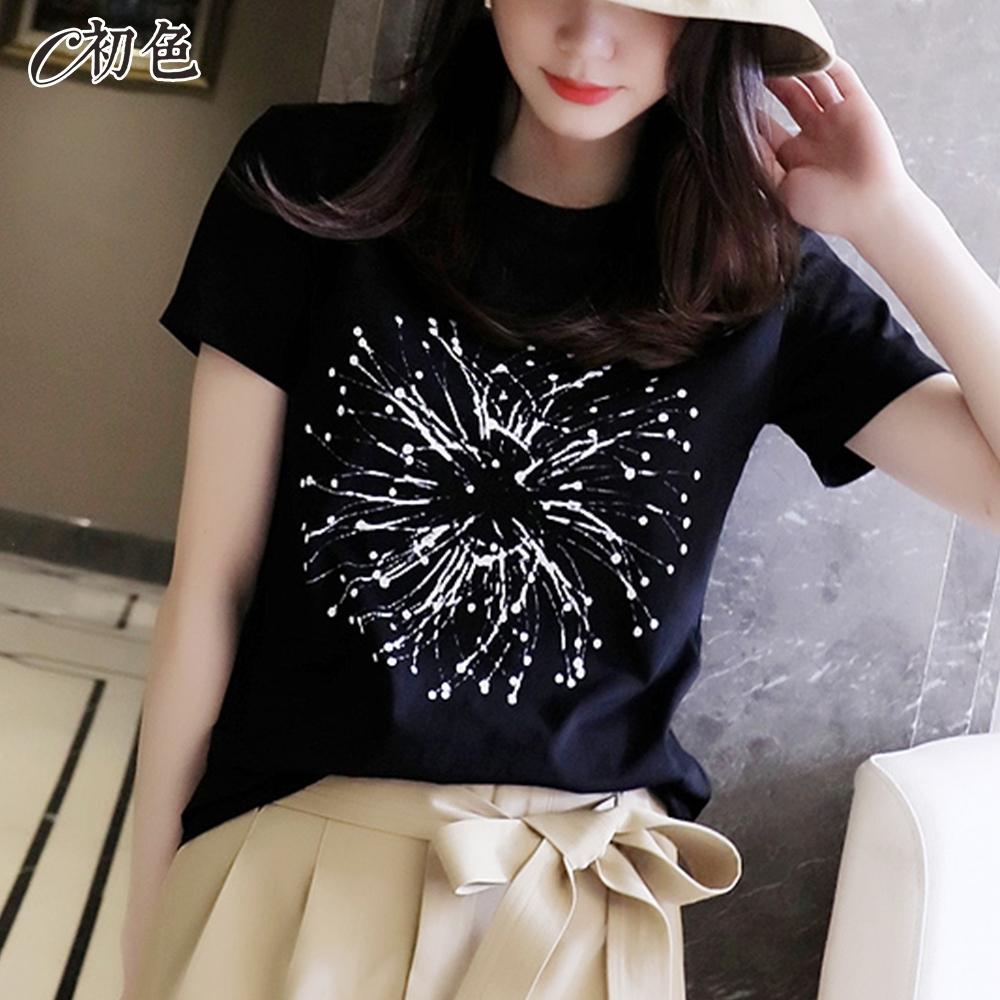 初色  時尚簡約印花T恤-共2色-(M-2XL可選)