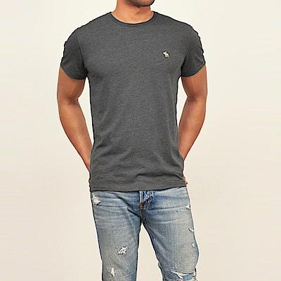 麋鹿 AF A&F 經典電繡麋鹿標誌素面短袖T恤-深灰色