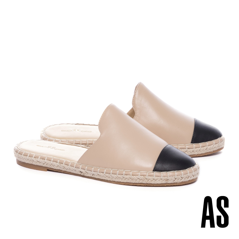 穆勒鞋 AS 率性舒適全真皮撞色拼接草編厚底穆勒拖鞋-米
