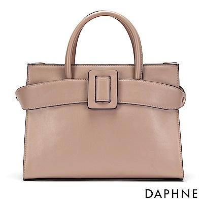 達芙妮DAPHNE-大方扣皮帶設計手提托特包-淺粉紅