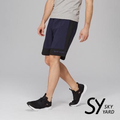 【SKY YARD 天空花園】跳色拼接剪裁運動短褲-藍黑色