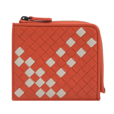 BOTTEGA VENETA 像素風編織羊皮拉鍊零錢包(紅/白)