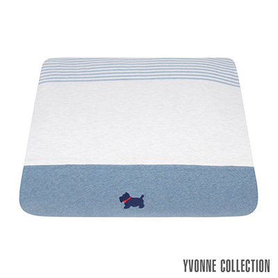 YVONNE COLLECTION 【買就送驅螨噴霧】狗狗藍條紋單人四季被(5x7呎)