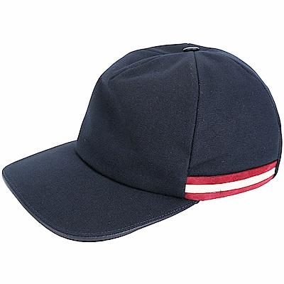 BALLY STRIPE 麂皮條紋網眼棉質棒球帽(海軍藍)
