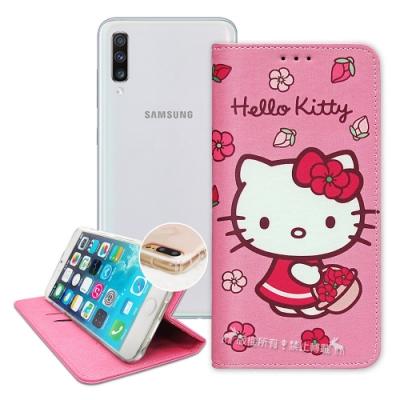 三麗鷗授權 Hello Kitty Samsung A70 櫻花吊繩款彩繪側掀皮套